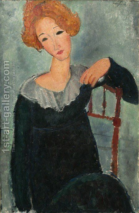 Woman With Read Hair by Amedeo Modigliani - Reproduction Oil Painting