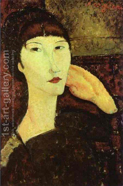 Adrienne   Woman With Bangs by Amedeo Modigliani - Reproduction Oil Painting