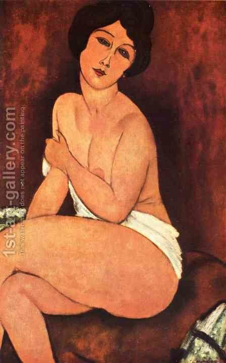 Seated Nude On Divan by Amedeo Modigliani - Reproduction Oil Painting