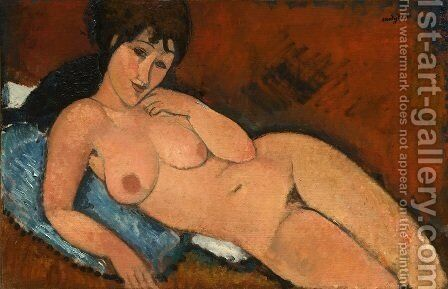 Nude On A Blue Cushion by Amedeo Modigliani - Reproduction Oil Painting