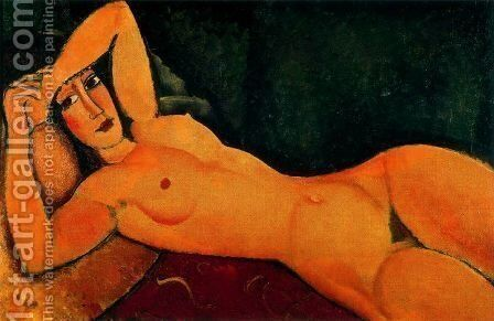 Reclining Nude With Left Arm Resting On Forehead by Amedeo Modigliani - Reproduction Oil Painting
