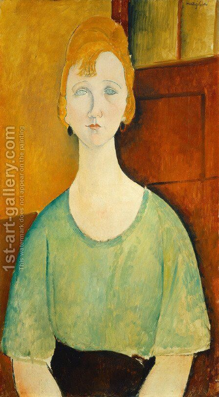 Girl In A Green Blouse by Amedeo Modigliani - Reproduction Oil Painting