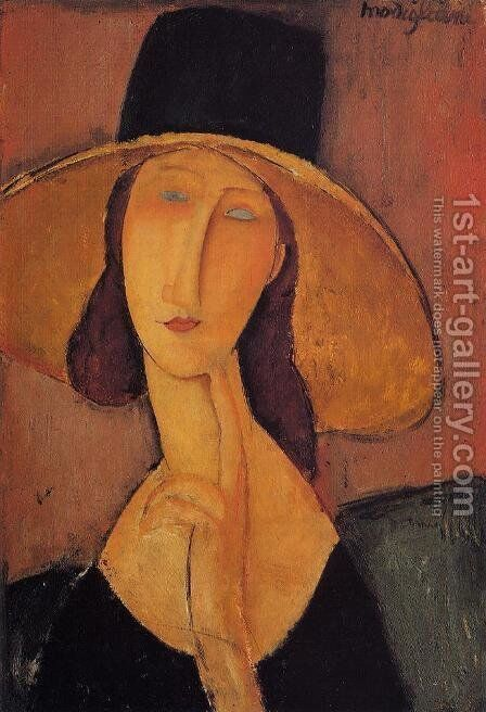 Portrait Of Woman In Hat   Jeanne Hebuterne In Large Hat by Amedeo Modigliani - Reproduction Oil Painting