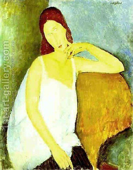 Portrait Of Jeanne Hebuterne   Common Law Wife Of Amedeo Modigliani by Amedeo Modigliani - Reproduction Oil Painting