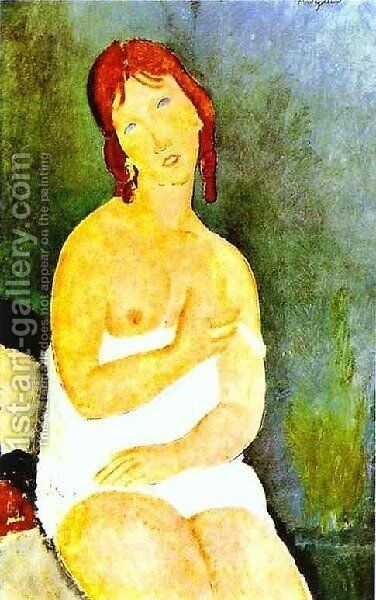 Red Haired Young Woman In Chemise by Amedeo Modigliani - Reproduction Oil Painting