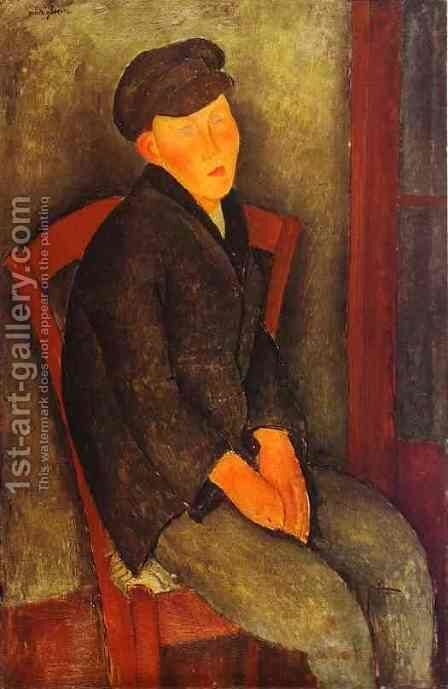 Seated Boy With Cap by Amedeo Modigliani - Reproduction Oil Painting
