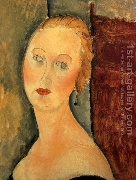 A Blond Woman   Portrait Of Germaine Survage by Amedeo Modigliani - Reproduction Oil Painting