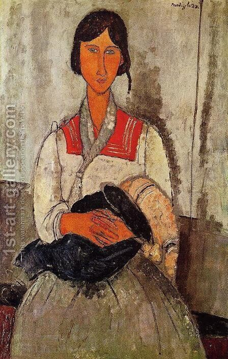 Gypsy Woman With Child by Amedeo Modigliani - Reproduction Oil Painting