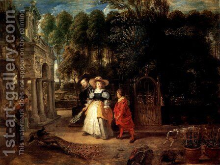 Rubens In His Garden With Helena Fourment by Rubens - Reproduction Oil Painting