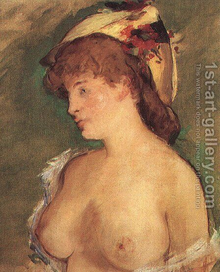 Blond Woman with Bare Breasts  1878 by Edouard Manet - Reproduction Oil Painting