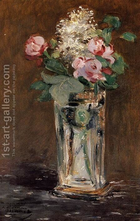 Flowers In A Crystal Vase by Edouard Manet - Reproduction Oil Painting