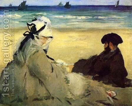 On The Beach 1873 by Edouard Manet - Reproduction Oil Painting