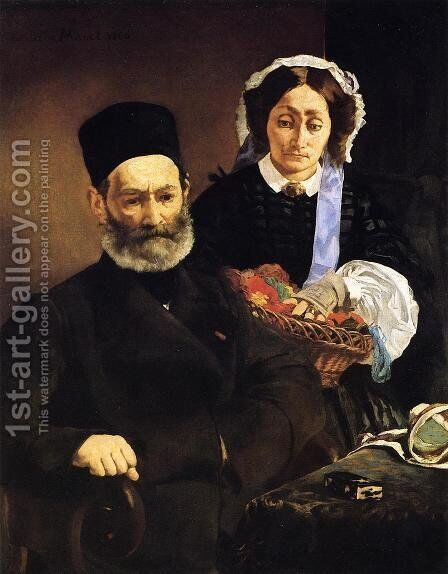 Mr And Mme Auguste Manet by Edouard Manet - Reproduction Oil Painting