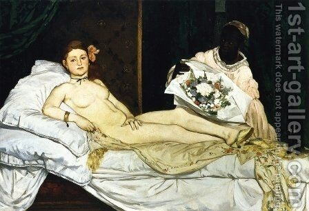 Olympia  1863 by Edouard Manet - Reproduction Oil Painting