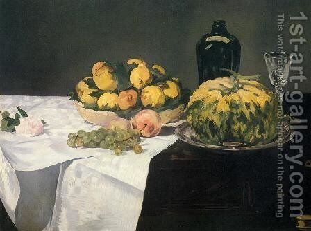 Still Life with Melon and Peaches  1866 by Edouard Manet - Reproduction Oil Painting