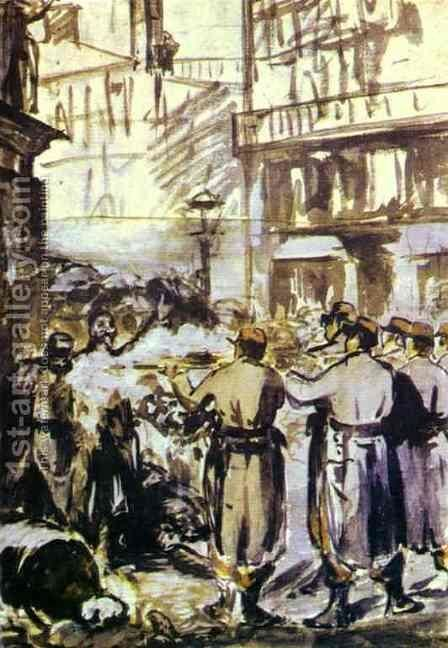 The Barricade   Civil War by Edouard Manet - Reproduction Oil Painting
