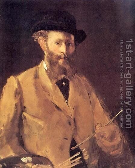 Self Portrait With A Palette by Edouard Manet - Reproduction Oil Painting