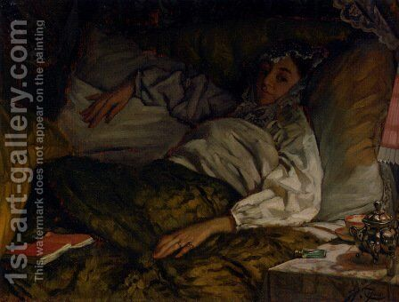 A Reclining Lady by James Jacques Joseph Tissot - Reproduction Oil Painting