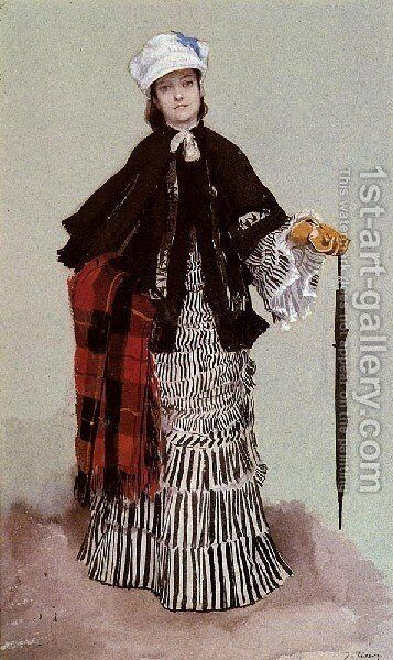 AmLady In A Black And White Dress by James Jacques Joseph Tissot - Reproduction Oil Painting