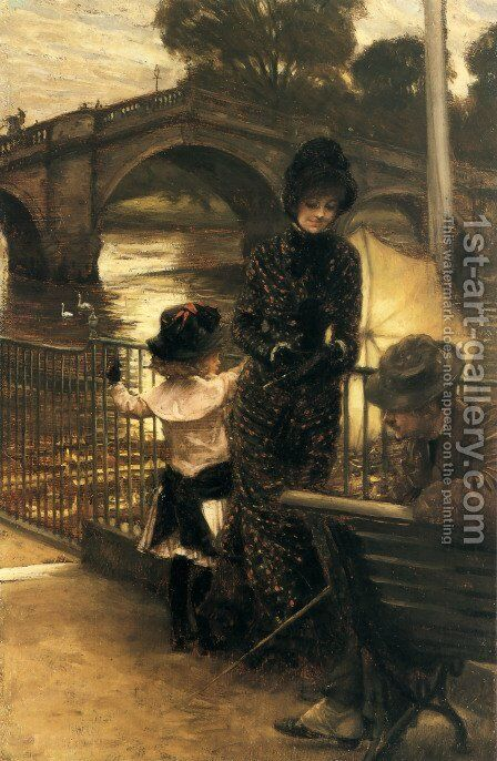 By The Thames At Richmond by James Jacques Joseph Tissot - Reproduction Oil Painting