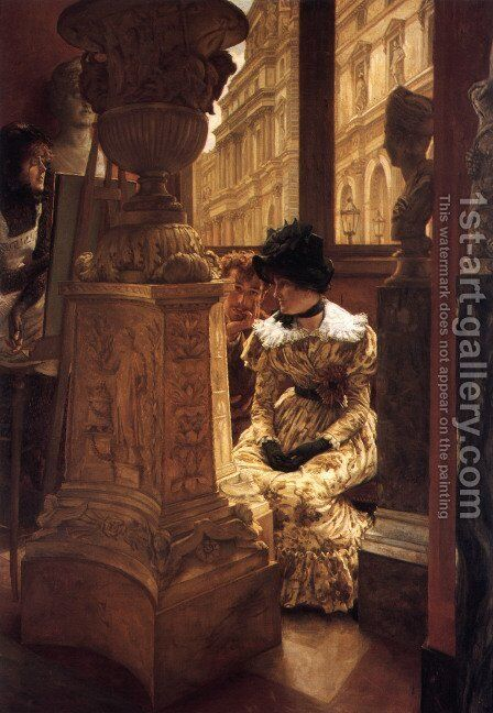 In The Louvre by James Jacques Joseph Tissot - Reproduction Oil Painting