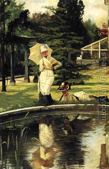 Jacques In An English Garden by James Jacques Joseph Tissot - Reproduction Oil Painting