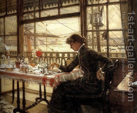 Room Overlooking The Harbour by James Jacques Joseph Tissot - Reproduction Oil Painting