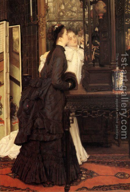 Young Ladies Looking At Japanese Objects by James Jacques Joseph Tissot - Reproduction Oil Painting