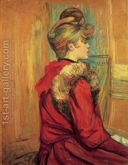 Girl In A Fur   Mademoiselle Jeanne Fontaine by Toulouse-Lautrec - Reproduction Oil Painting