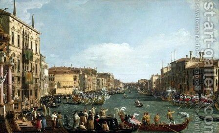 A Regatta on the Grand Canal c. 1732 by (Giovanni Antonio Canal) Canaletto - Reproduction Oil Painting