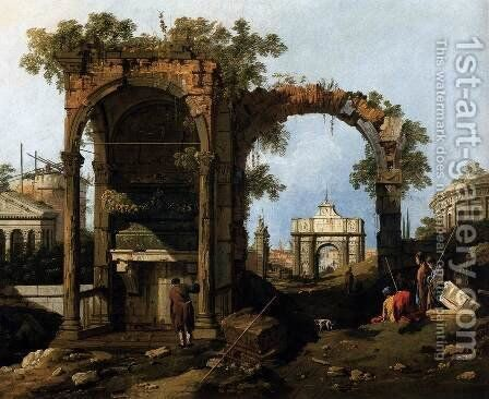 Capriccio  Ruins and Classic Buildings 1730s by (Giovanni Antonio Canal) Canaletto - Reproduction Oil Painting