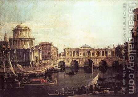Capriccio   The Grand Canal, with an Imaginary Rialto Bridge and Other Buildings 1740s by (Giovanni Antonio Canal) Canaletto - Reproduction Oil Painting