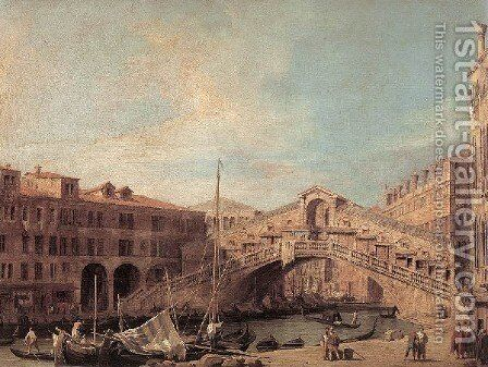 Grand Canal   The Rialto Bridge From The South by (Giovanni Antonio Canal) Canaletto - Reproduction Oil Painting