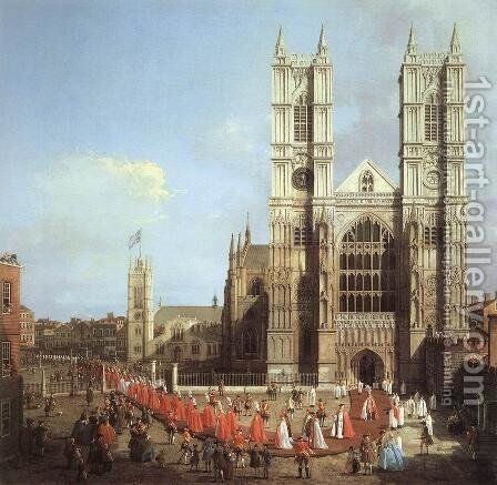 London   Westminster Abbey With A Procession Of Knights Of The Bath 1749 by (Giovanni Antonio Canal) Canaletto - Reproduction Oil Painting