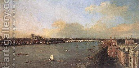 London Seen From An Arch Of Westminster Bridge by (Giovanni Antonio Canal) Canaletto - Reproduction Oil Painting