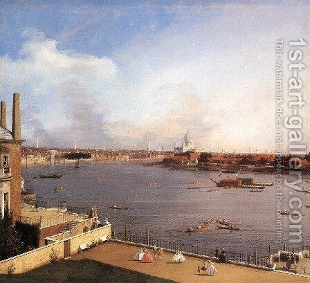 London The Thames And The City Of London From Richmond House by (Giovanni Antonio Canal) Canaletto - Reproduction Oil Painting