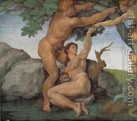 Ceiling Of The Sistine Chapel  Genesis The Fall And Expulsion From Paradise   The Original Sin by Michelangelo - Reproduction Oil Painting