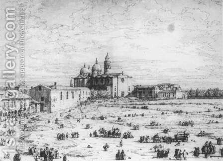 Padua The Prato Della Valle With Santa Giustinia And The Church Of Misericordia   1 by (Giovanni Antonio Canal) Canaletto - Reproduction Oil Painting
