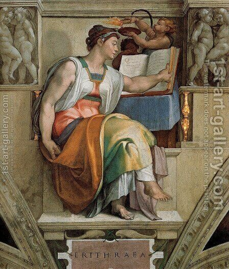 Ceiling Of The Sistine Chapel  Sybils  Erithraea by Michelangelo - Reproduction Oil Painting