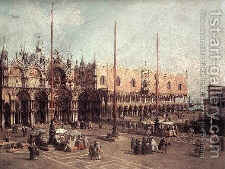 Piazza San Marco   Looking South East by (Giovanni Antonio Canal) Canaletto - Reproduction Oil Painting