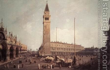 Piazza San Marco   Looking South West by (Giovanni Antonio Canal) Canaletto - Reproduction Oil Painting