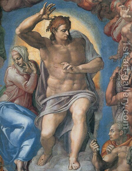 Last Judgement  Christ The Judge by Michelangelo - Reproduction Oil Painting