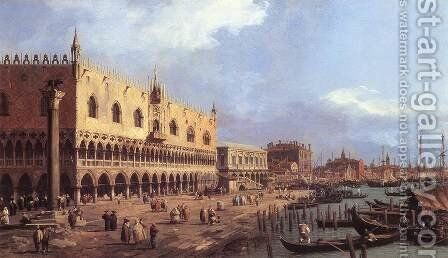 Riva Degli Schiavoni   Looking East by (Giovanni Antonio Canal) Canaletto - Reproduction Oil Painting
