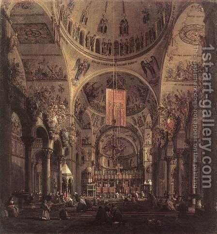 San Marco   The Interior by (Giovanni Antonio Canal) Canaletto - Reproduction Oil Painting