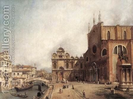 Santi Giovanni E Paolo And The Scuola Di San Marco by (Giovanni Antonio Canal) Canaletto - Reproduction Oil Painting