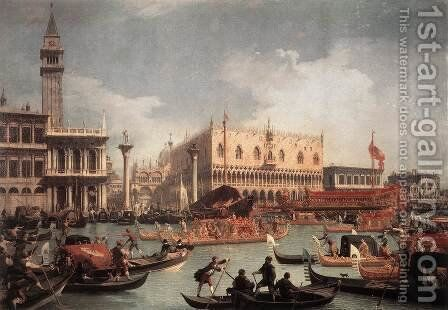 The Bucintore Returning To The Molo On Ascension Day by (Giovanni Antonio Canal) Canaletto - Reproduction Oil Painting