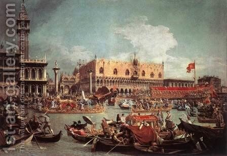 The Bucintoro Returning To The Molo On Ascension Day by (Giovanni Antonio Canal) Canaletto - Reproduction Oil Painting
