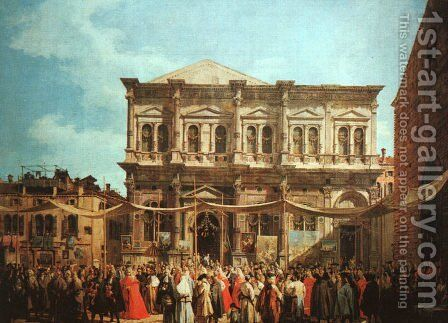 The Feast Day Of St Roch by (Giovanni Antonio Canal) Canaletto - Reproduction Oil Painting