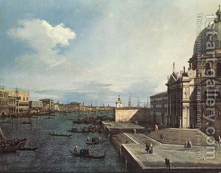 The Grand Canal At The Salute Church by (Giovanni Antonio Canal) Canaletto - Reproduction Oil Painting