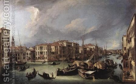 The Grand Canal With The Rialto Bridge In The Background by (Giovanni Antonio Canal) Canaletto - Reproduction Oil Painting